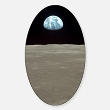Funny Earth rise Sticker (Oval)
