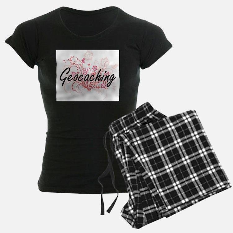 Geocaching Artistic Design with Flowers Pajamas