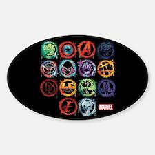 Marvel All Splatter Icons Sticker (Oval)