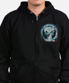 Punisher Grunge Icon Zip Hoodie (dark)