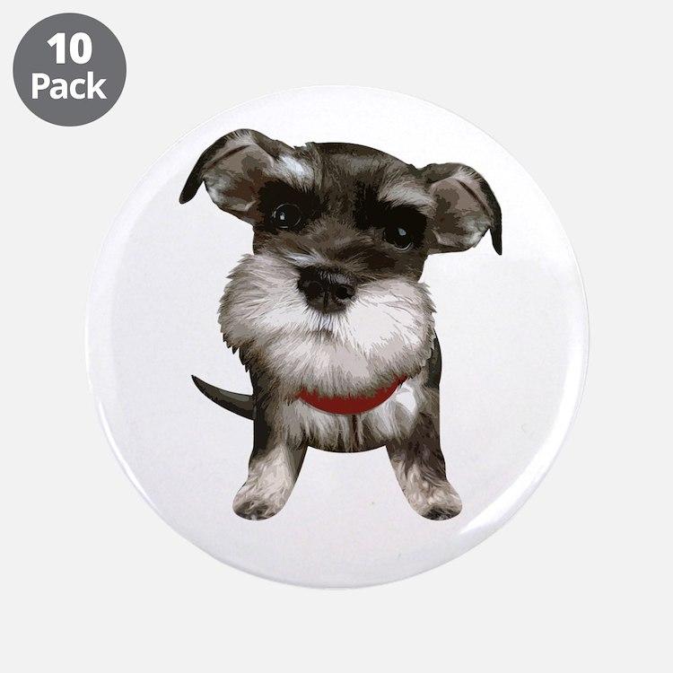 "Mini Schnauzer001 3.5"" Button (10 pack)"
