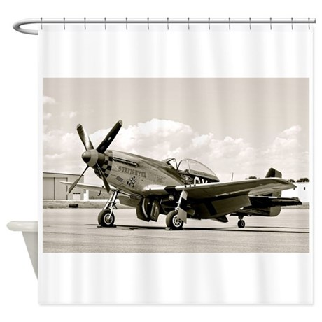 P 51 Airplane Shower Curtain