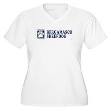 BERGAMASCO SHEEPDOG Womes Plus-Size V-Neck T-Shirt