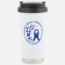 Blue Awareness Ribbon Stainless Steel Travel Mug