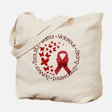 Red Awareness Ribbon with Butterflies Tote Bag
