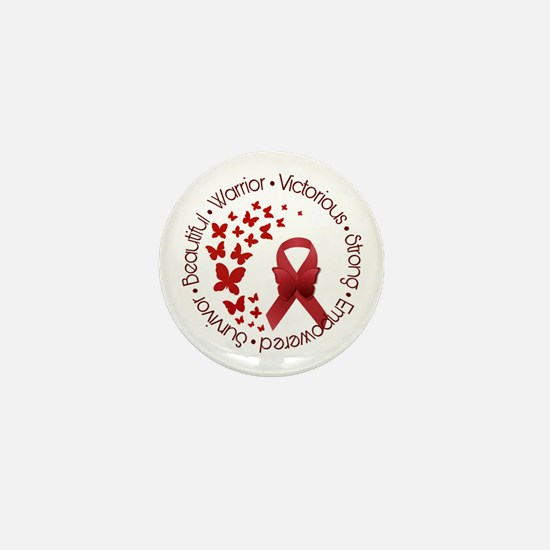 Red Awareness Ribbon with Butterflies Mini Button