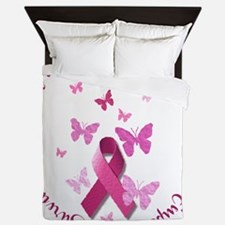Breast Cancer Pink Ribbon Queen Duvet