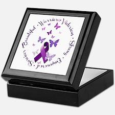 Purple Ribbon with Empowering Words Keepsake Box