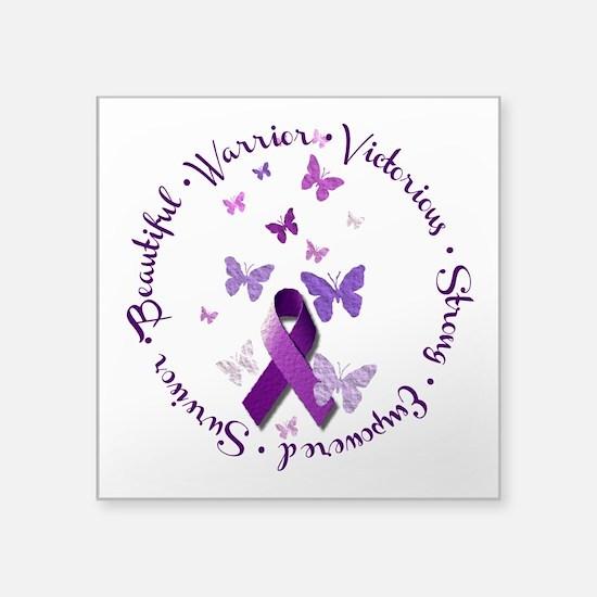 "Purple Ribbon with Empoweri Square Sticker 3"" x 3"""