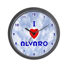 I Love Alvaro (Blue) Valentine Wall Clock