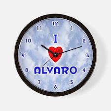 I Love Alvaro (Blue) Valentine Wall Clock