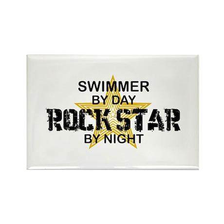 Swimmer Rock Star Rectangle Magnet