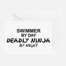 Swimmer Deadly Ninja by Night Greeting Cards (Pk o
