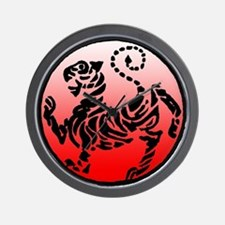 shotokan - black tiger on red and white Wall Clock