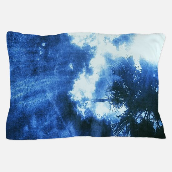 Palm Tree Sunburst Denim Pillow Case
