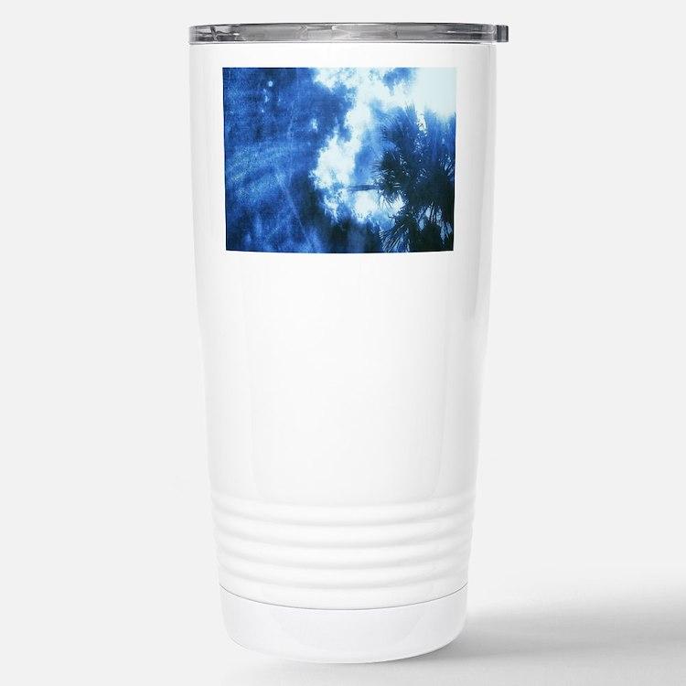 Palm Tree Sunburst Denim Travel Mug
