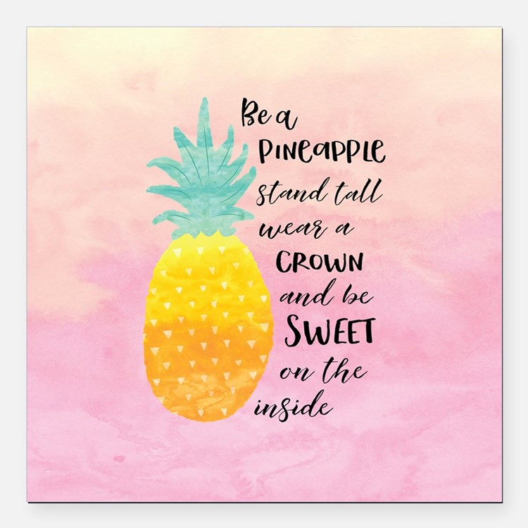 "Cute Quote pineapple Square Car Magnet 3"" x 3"""