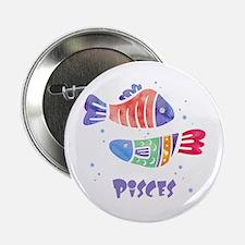 "Pisces Astrology Fish Watercolor art 2.25"" Button"