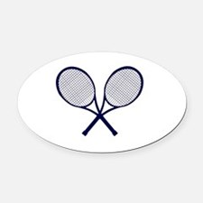 Cute Tennis match Oval Car Magnet