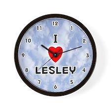 I Love Lesley (Black) Valentine Wall Clock