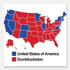 """Map of Dumbfuckistan Square Car Magnet 3"""" x 3"""""""