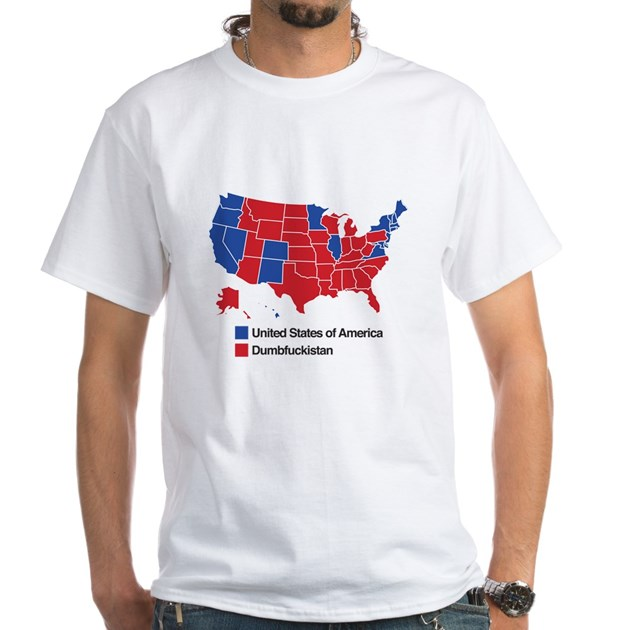 Map Of Dumbfuckistan White TShirt Map Of Dumbfuckistan TShirt - T shirts with 2016 electoral map of us