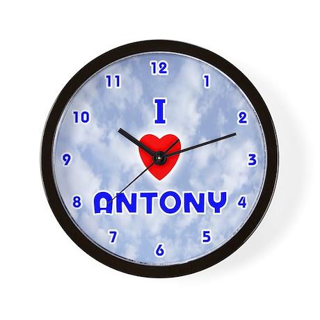 I Love Antony (Blue) Valentine Wall Clock