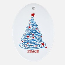 Patriotic Christmas Tree Oval Ornament