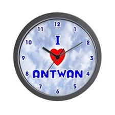 I Love Antwan (Blue) Valentine Wall Clock