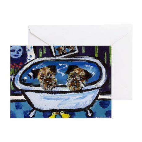 BORDER TERRIER bath Greeting Cards (Pk of 10)
