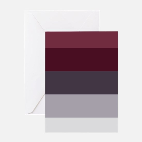 Plum Burgundy Grey Stripes Greeting Cards