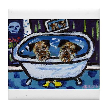 BORDER TERRIER bath Tile Coaster