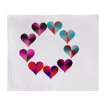 Circle of Iridescent Hearts Throw Blanket