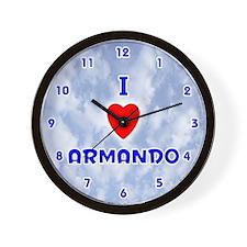 I Love Armando (Blue) Valentine Wall Clock
