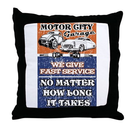 MOTOR CITY GARAGE 2 Throw Pillow