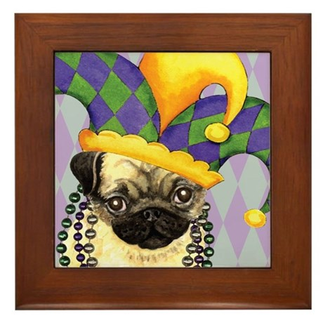 Party Pug Framed Tile
