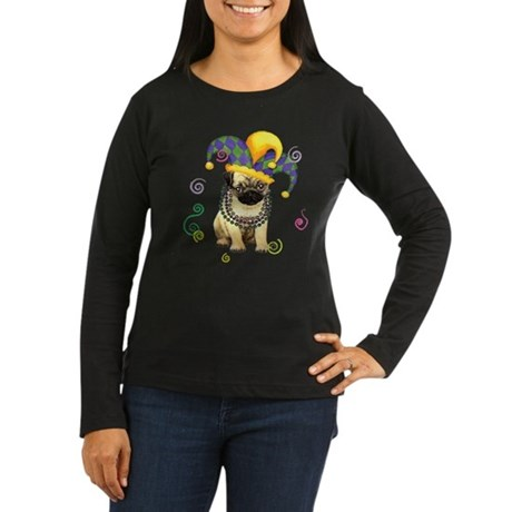 Party Pug Women's Long Sleeve Dark T-Shirt