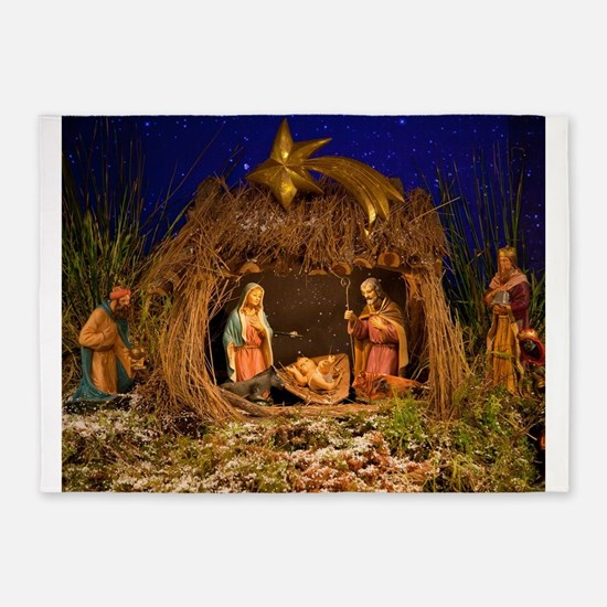 Nativity scene 5'x7'Area Rug