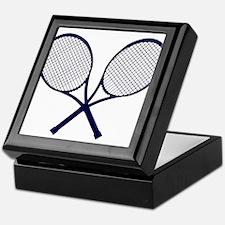 Crossed Rackets Silhouette Keepsake Box