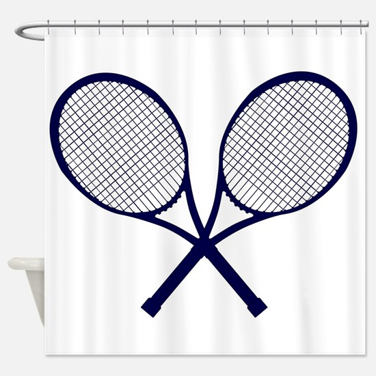 Crossed Rackets Silhouette Shower Curtain