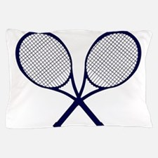 Crossed Rackets Silhouette Pillow Case