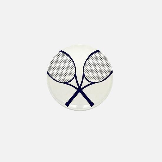 Crossed Rackets Silhouette Mini Button
