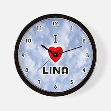 I Love Lina (Black) Valentine Wall Clock
