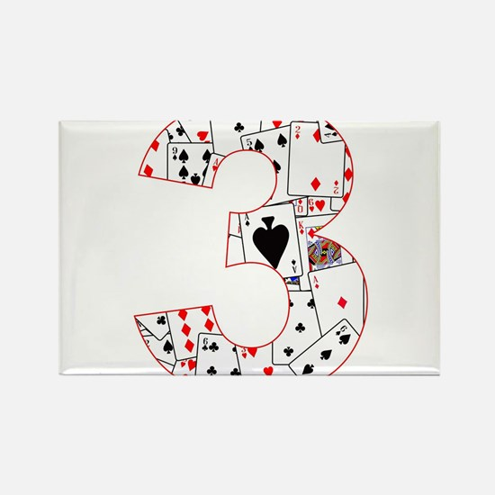Number Three Cards Magnets