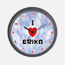 I Love Erika (Red/Blk) Valentine Wall Clock