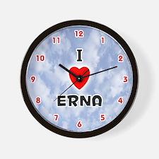 I Love Erna (Red/Blk) Valentine Wall Clock
