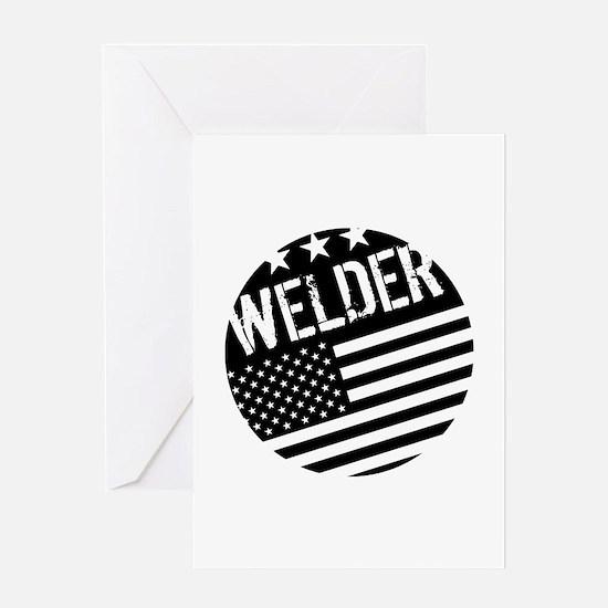 Welder: Black Flag (Circle) Greeting Cards