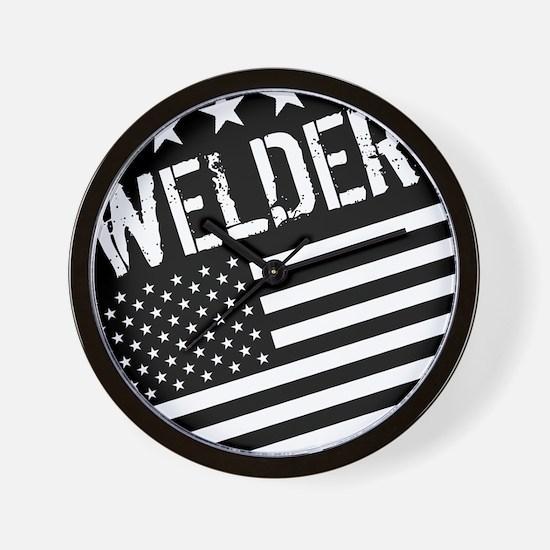 Welder: Black Flag (Circle) Wall Clock