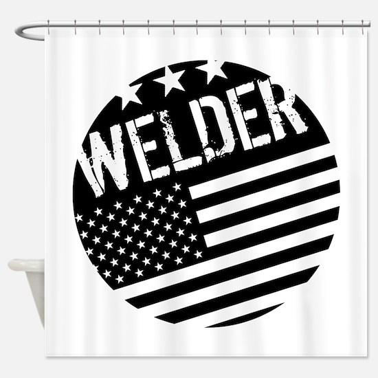 Welder: Black Flag (Circle) Shower Curtain