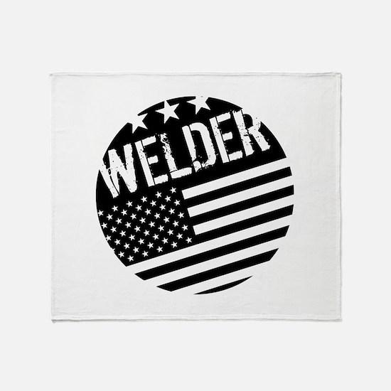 Welder: Black Flag (Circle) Throw Blanket